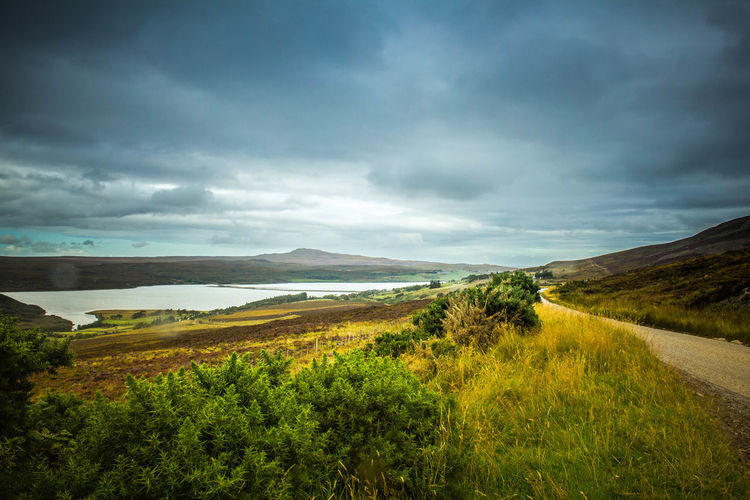 Scenic view of landscape against cloudy sky
