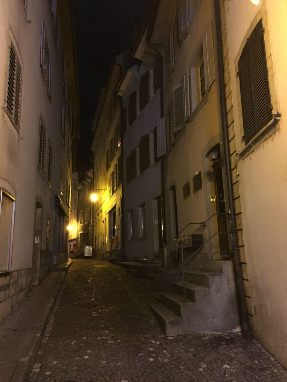 architecture, building exterior, the way forward, illuminated, built structure, alley, night, no people, walkway, outdoors
