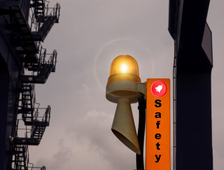 Closeup orange siren for safety alarm on heavy equipment. Alrm Architecture Communication Day Emergency Equipment First Eyeem Photo Heat Illuminated Light Low Angle View No People Orange Outdoors Safety Secure Security Shot Sign Siren Sky Sound Speed Warning Yellow,