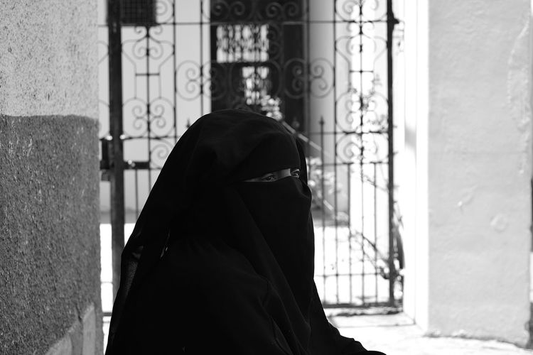 Close-up of woman in hijab