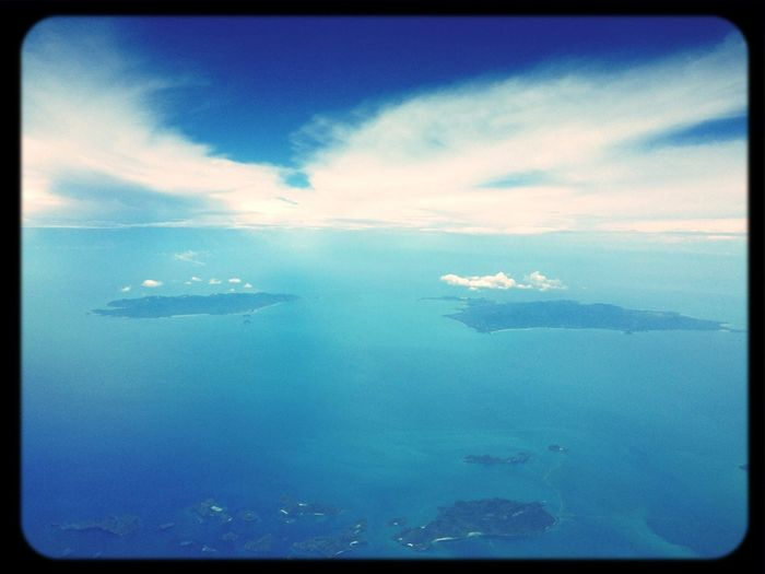 Above the famous islands