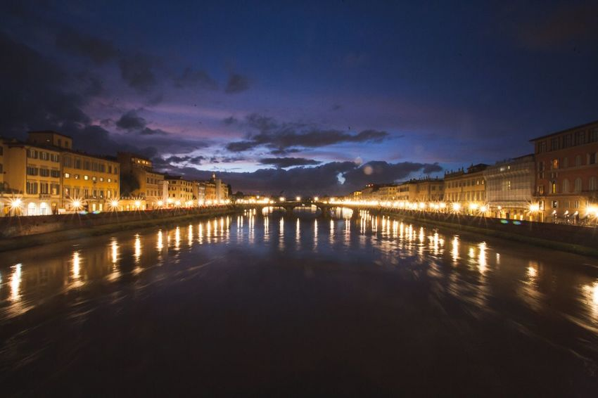 Amazing views in Florence, Italy. Water Reflection Illuminated Sky Night Architecture Building Exterior Waterfront River Built Structure City Nature No People Outdoors Beauty In Nature Italy Sunset Cloud - Sky Explore Florence