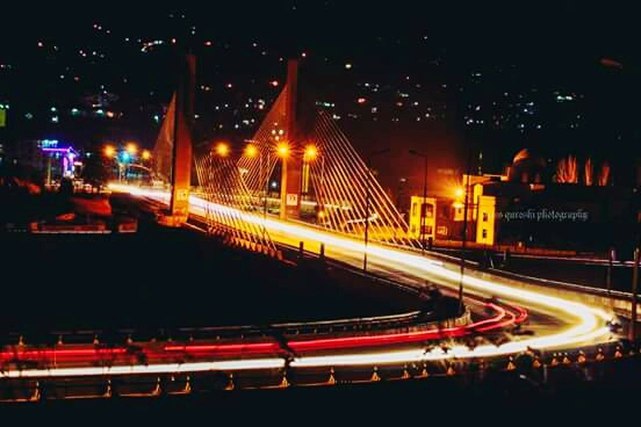 illuminated, night, speed, traffic, transportation, light trail, motion, red, bridge - man made structure, long exposure, road, city life, architecture, outdoors, street light, built structure, city, no people, neon
