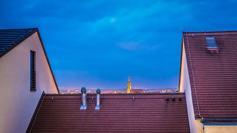 Blue Night in Dresden - above the roof tops Building Exterior Architecture Built Structure Building Sky Low Angle View No People Blue Blue Night Blue Sky
