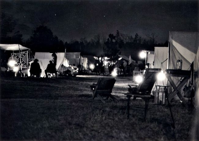 Civilwar Reenactment Camp at night. Nightphotography Campfires