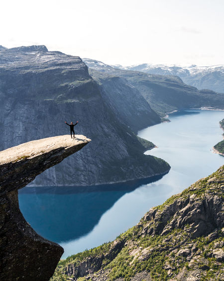 The greatest view of Norway: Trolltunga! Mountain View Norway Animal Themes Beauty In Nature Cliff Day Fjord Landscape Mountain Mountain Range Mountains Nature No People Outdoors Popular Photos Random People Rock - Object Rock Formation Scenics Sea Sky Tranquil Scene Tranquility Trolltunga Water Been There. Be. Ready.