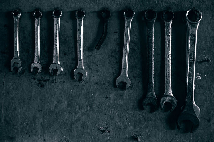 Close-up of wrench on wall