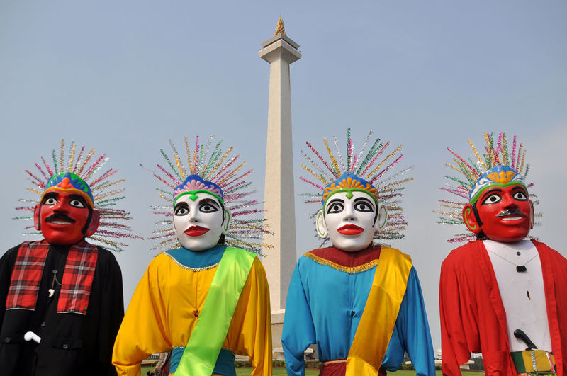 Ondel-ondel the icon of Jakarta, capital city of Indonesia. Jakarta INDONESIA ASIA Culture Puppets Giant Puppet Art Icon National Monument Betawi Color Ondel-ondel Sculpture Sky Face Like People No People Horizontal Park Outdoor Landmark
