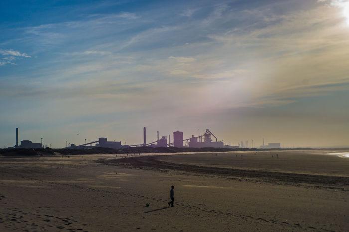 Beach Cloud - Sky Day One Person Real People Sand Sea Sky Redcar Teesside Teesside Steel