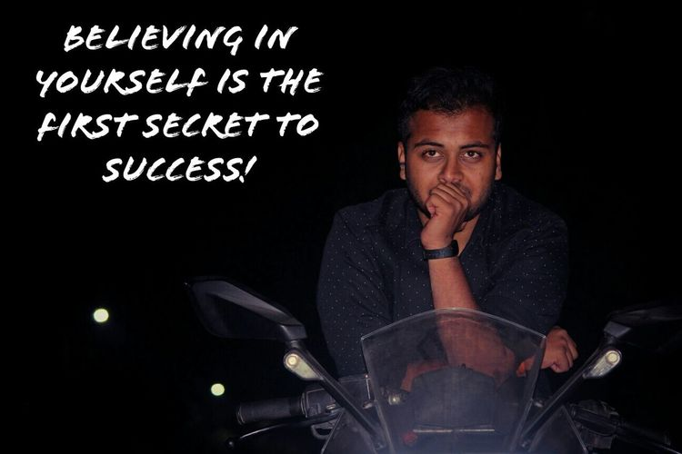 """"""" Believing in YOURSELF is the first SECRET To success """" Entrepreneur Trainer Millionairemindset Successful Youngenterpreneur Youngtrainer Portrait Front View"""