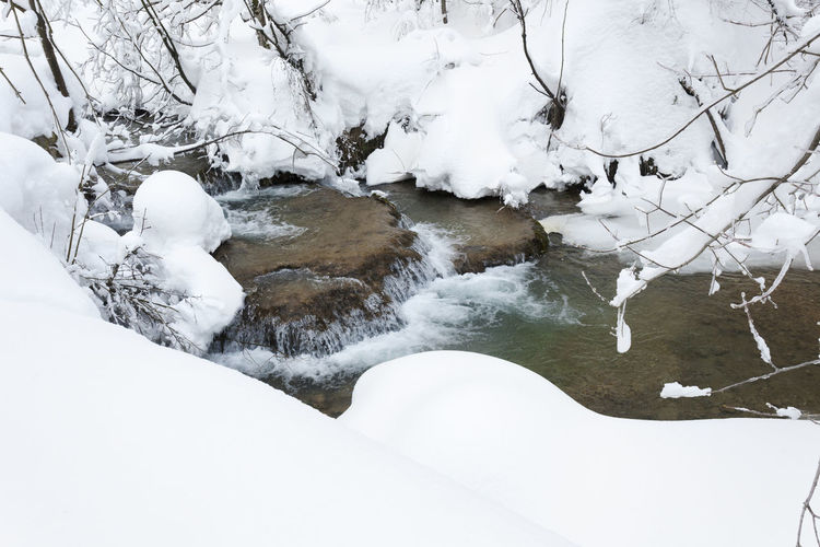 Scenic view of frozen river during winter