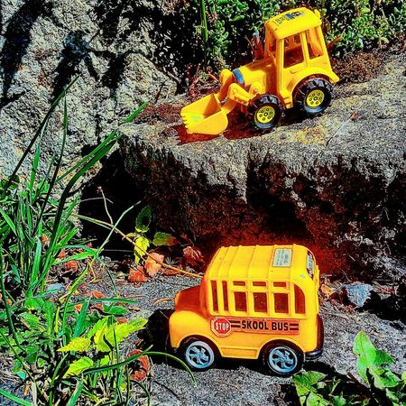 Yellow Toy Car Toy Tractor Outdoors Day Stationary Surface Level Vehicle