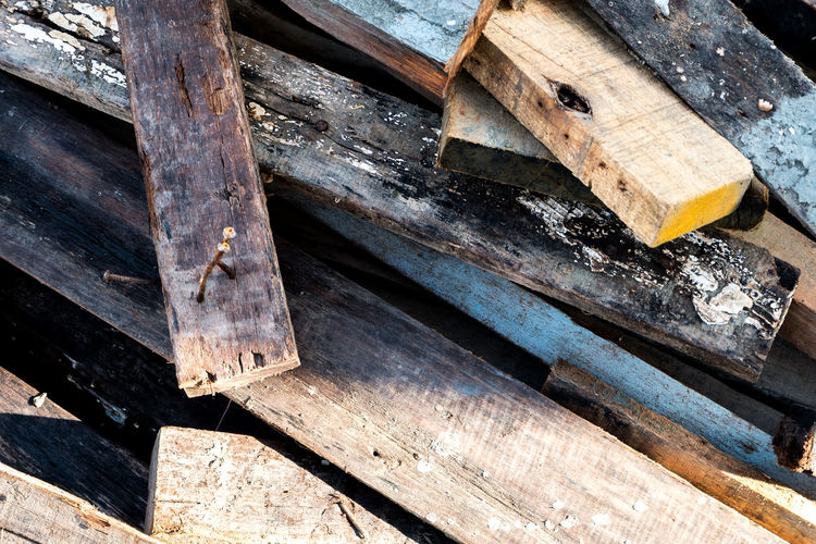 Close-up of old wooden planks