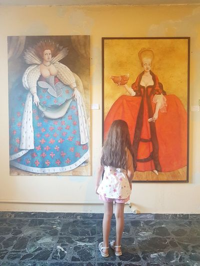 Children Only One Person Rear View Childhood Child One Girl Only Standing Full Length People Girls Indoors  Day Painting Art Art Exhibition