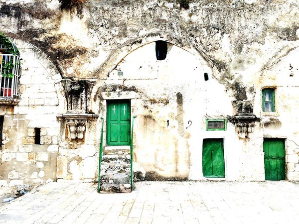 At the Holy Sepulcher Holyland Architecture Religious Architecture Cross Green Color Green Building Exterior Entrance
