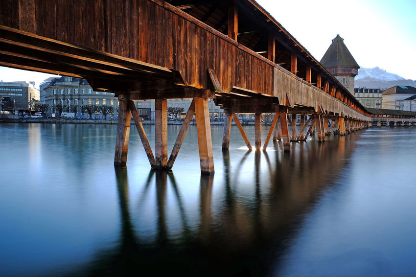 Landscape_Collection Luzern Reflection Wood Architecture Bridge - Man Made Structure Building Exterior Built Structure Covered Bridge Lake Lake View Landscape Long Exposure Nature No People Outdoors Pier Reflection_collection Reflections Reflections In The Water Switzerland Switzerlandpictures Underneath Water Waterfront