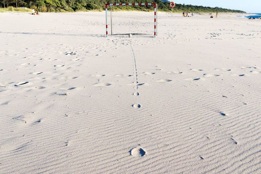 Score! Vorfreude WM2018 Sport Beach Soccer Sand Land Beach Day Nature FootPrint Outdoors No People Tranquility High Angle View Summer Focus On The Story