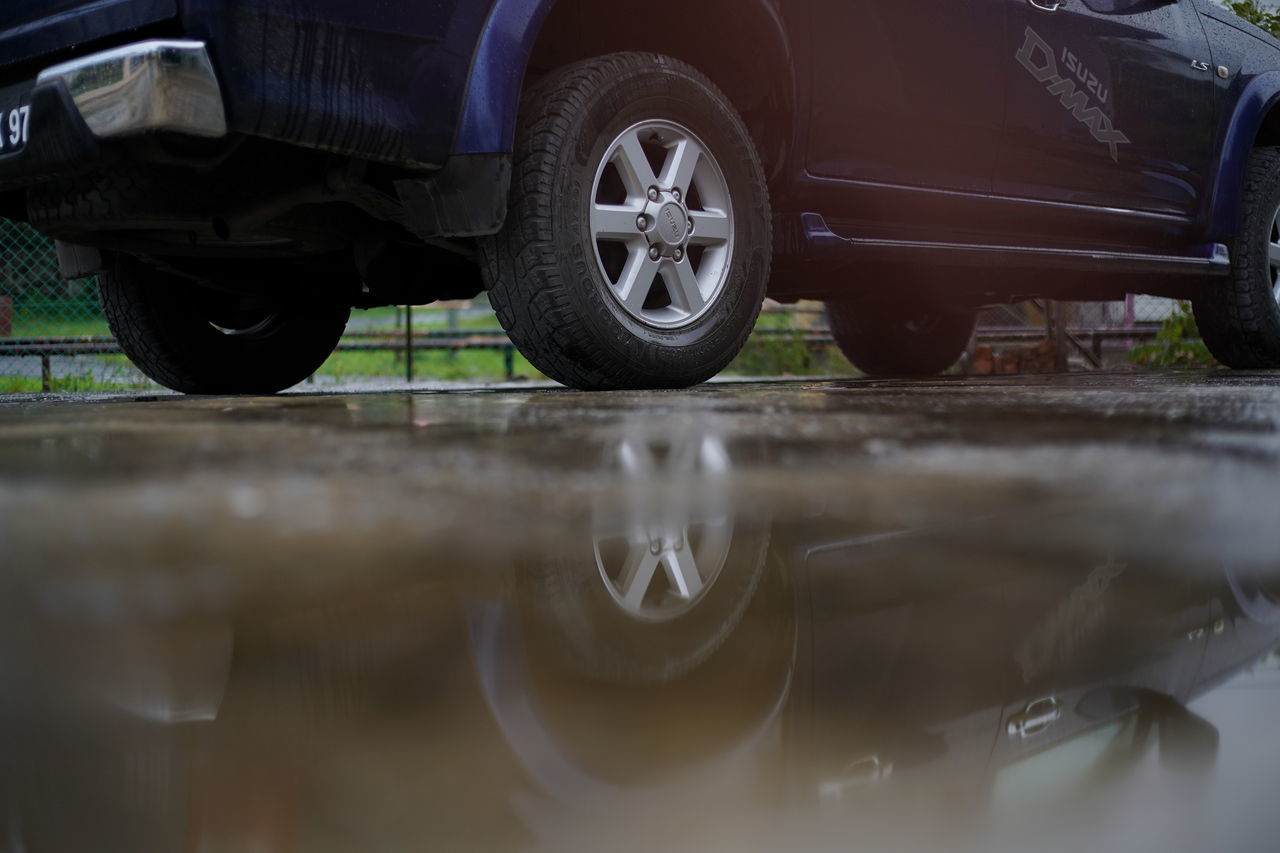 CLOSE-UP OF REFLECTION OF CAR ON WATER