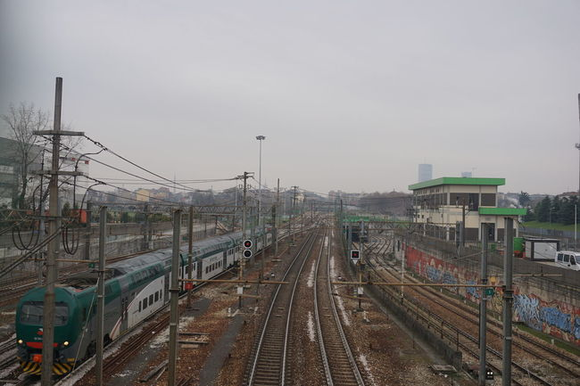 Straight ahead Panorama Transportation Sky Outdoors City No People Grey Sky Grey Light Sky Cloud - Sky Railway Railway Track Train Nofilter Noedit Sony A6000 Landscape Landschaft Milano Milan Mailand Clear