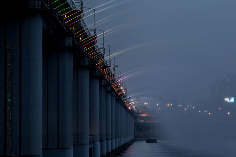 Architecture Blue Built Structure City Life Diminishing Perspective Engineering Fountain Fountain Show Han River Hangang Illuminated Laser Light Modern Multi Colored Nature Night Night View Nightphotography No People Outdoors Riverscape Sky Travel Destinations Water