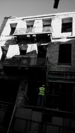 Old Building  Worker Contructionwork Under Construction... Selective Color High Contrast Black & White Black And White Collection  Blackandwhite Black And White Photography Blackandwhite Photography Black And White Athens Athens, Greece