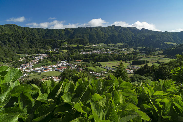 View to Furnas, Azores, Sao Miguel Azores Azores Islands Azores, S. Miguel Beauty In Nature Cloud - Sky Day Environment Green Color Growth Lake Landscape Mountain Nature No People Outdoors Plant Scenics - Nature Sky Tranquil Scene Tranquility Tree Water