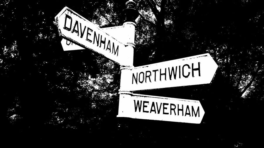 Billnewlandphotos Directional Sign Northwhich Davenham Weaverham Show Me The Way Cheshire Sign Arrow Lost Questions Curiosity Where Do I Go? Lostock Gralam Hartford Road Sign Road Signs Fork In The Road Which Way? Which Way To Go? Check This Out Black And White On The Way Cheshirelife Cheshire UK