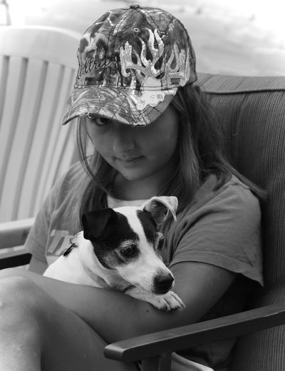 Granddaughter and her pet dog Molly. Animal Themes Day Dog Domestic Animals Indoors  Leisure Activity Lifestyles Mike Stouffer One Animal One Person Pets Real People TheSixthLens