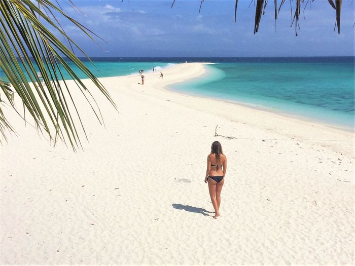 Beach Bikini Horizon Over Water Leisure Activity One Person Phillipines Sand Sea Shore Tranquil Scene Tranquility Travel Travel Destinations Vacations Women Kalanggaman Island