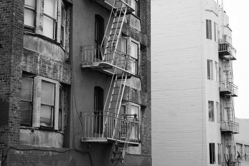 Squalor Urban Landscape Black And White Street Photography Concrete Bay Window Architecture San Francisco Tenderloin Alleyway Urban Geometry