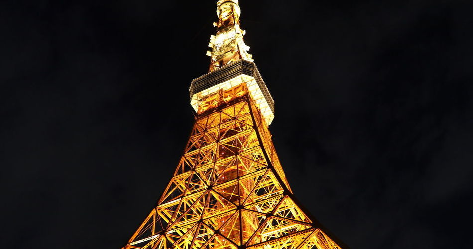 Spectacular perspective view of Tokyo Tower illuminated at night. The Tokyo Tower is a telecommunications building and also a panoramic observatory in Minato district Japan Tokyo Tokyo Tower Tokyo Tower In The Rain Tokyo Tower And Mount Fuji Tokyo Tower Night View Architecture Built Structure City History Illuminated Low Angle View Metal Nature Night No People Outdoors Sky Tall - High The Past Tokyo Tower 2017 Tokyo Tower Jack Tourism Tower Travel Travel Destinations