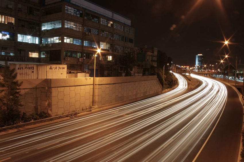 Long Exposure Illuminated Transportation Light Trail Motion Architecture Built Structure Night Building Exterior City Speed Road Outdoors City Life