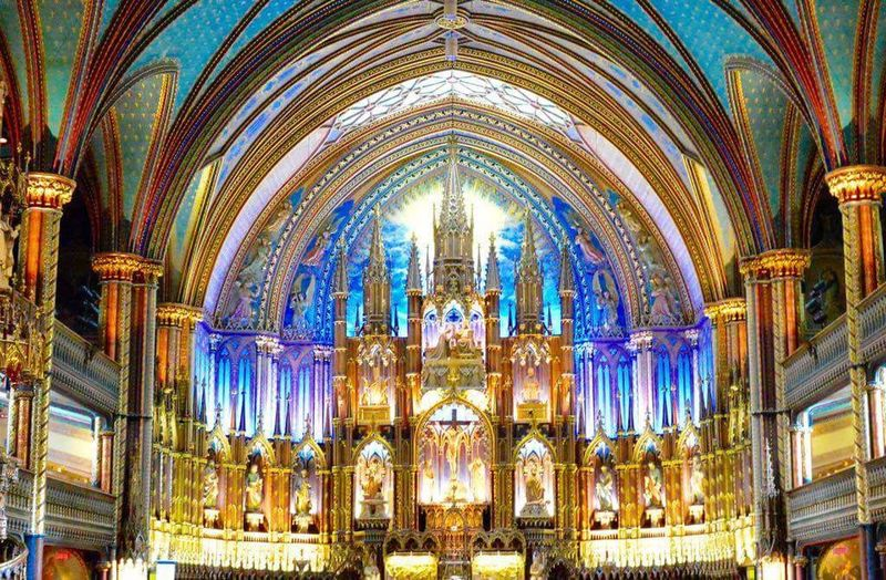 NotreDameCathedral Montréal Church Architecture Low Angle View Arch Place Of Worship Church Religion Place Of Worship Religion Religion Spirituality Cathedral Architecture Low Angle View Indoors  Stained Glass Built Structure Window Human Representation Arch Architectural Feature Interior Pew