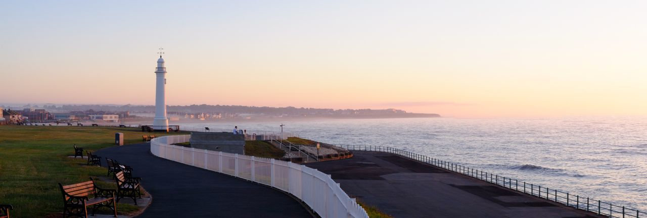 Sunderland seafront at dawn Dawn Sunrise Morning Light Sky Tower Water Architecture Sea Built Structure Nature Building Exterior Beauty In Nature Tall - High Tourism Orange Color Tranquility Tranquil Scene Lighthouse