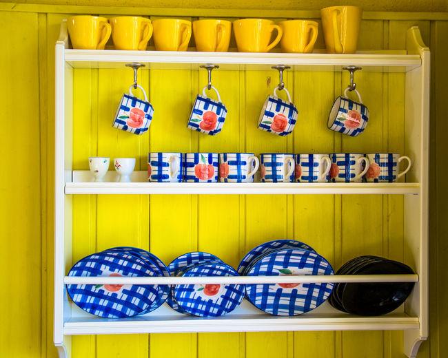 Crockery On Shelf In Kitchen
