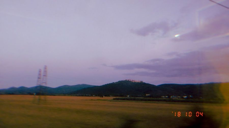 —Always Travel. 🚊 Text Retro Filter Purple Purple Sky Time Phone PhonePhotography Phonecamera Honor Honor9 Honorphotography Nature SNOW App Snow Filter Snow Camera Retro Filter Travel Train Train Window Window View Mountain Sunset Power In Nature Sky Grass Landscape Cloud - Sky Calm