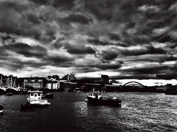 Stormy River Nautical Vessel Cloud - Sky Sky Water River City Waterfront Harbor Storm Cloud Black And White Boats A Storm Is A Brewing