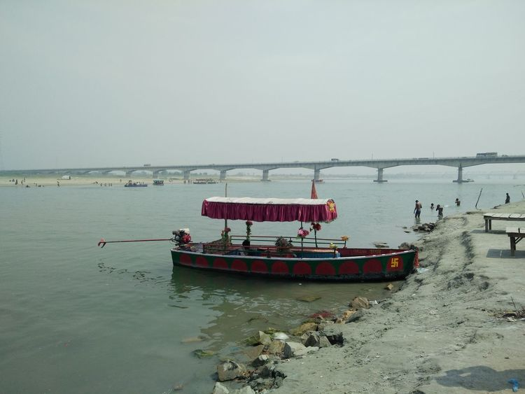 """""""beauty of saryu river"""" River Nautical Vessel Water Beach Red Sky Horizon Over Water Boat Fishing Boat Sailing Boat"""