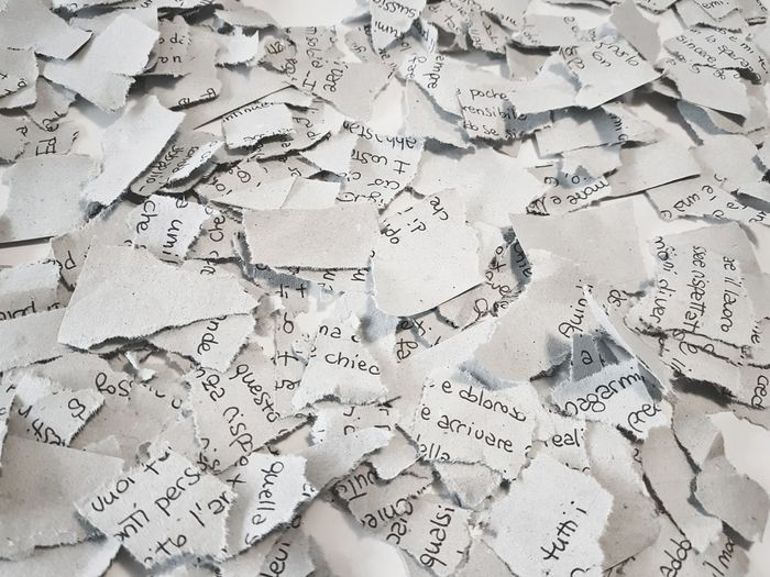 | Pieces of life | Letter Broken EyeEmItaly Full Frame Text Backgrounds Paper Communication Handwriting  No People Close-up Love Yourself