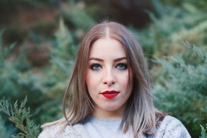 Warm Winter - Photoshoot with Francesca, January 2016 Blonde Blue Eyes Face Fashion Femininity Front View Green Headshot Model Mood Natural Beauty Nature Outdoors Plant Plants Portrait Portrait Of A Woman Red Lips Styling Sublime Living Sweater Woman Woman Portrait Young Adult Young Woman