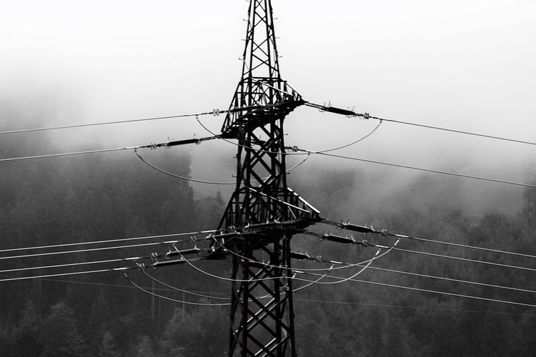 Cable Electricity  Connection Power Supply Power Line  Electricity Pylon Fuel And Power Generation Technology Complexity Sky Nature Blackandwhite Contrast Construction Connect Clouds Trees EyeEm Best Shots Landscape Photography Landscape Nikond750 Nikon Full Frame Austria