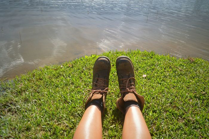 Out of place Out Of Place  Tropical Summer  Boots Hiking Boots Travel Photography ASIA Conceptual Conceptual Photography  Copy Space Traveller Wanderer Wanderlust Low Section Water Human Leg Sunlight Shoe Lake High Angle View Personal Perspective Human Foot The Creative - 2018 EyeEm Awards