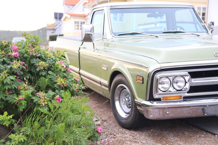American American Car Car Day Design GMC Green Color Growth Land Vehicle Mode Of Transport No People Outdoors Parked Parked Cars Retro Styled Sky Transportation Truck