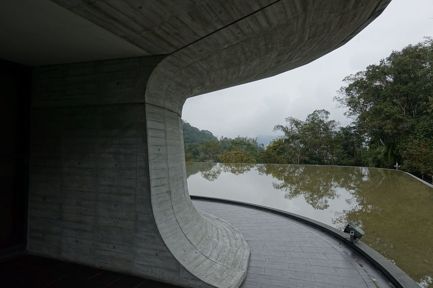 Architecture Perspective Reflection Taiwan Visitor Center Built Structure Concrete Connection Day Nature No People Outdoors Reflections In The Water Sky Sun Moon Lake Tree Water