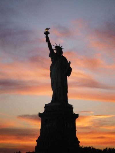 Liberty! Statue Sunset Freedom No People Silhouette Sky Sculpture Libertystatue  Newyork Manhattan Nofilter