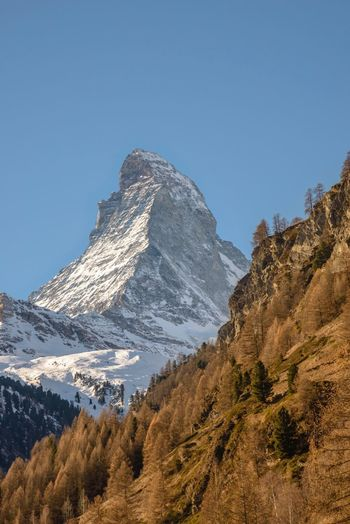 Matterhorn Mountain Mountain Range Snowcapped Mountain Scenics Blue Clear Sky Snow Mountain Peak Nature Beauty In Nature Outdoors Landscape Landscape_photography Nikon D810 Nikon Switzerland Schweiz Matterhorn  Zermatt