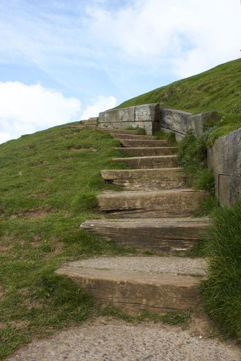 uneven steps Ancient Civilization Archaeology Architecture Built Structure Cloud - Sky Day Direction Grass Green Color History Land Low Angle View Nature No People Outdoors Plant Sky Staircase Steps And Staircases The Past The Way Forward Travel