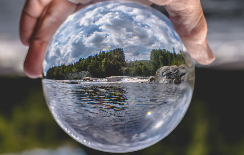 Beauty In Nature Blue Close-up Cloud - Sky Crystal Ball Day Focus On Foreground Fragility Home Is Where The Art Is Landscapes Leisure Activity Lifestyles Nature Ontario, Canada Outdoors Part Of Scenic Showcase August Sky Sphere The Week On EyeEm Through The Glass Tranquility Water Waterfall 100 Days Of Summer Perspectives On Nature