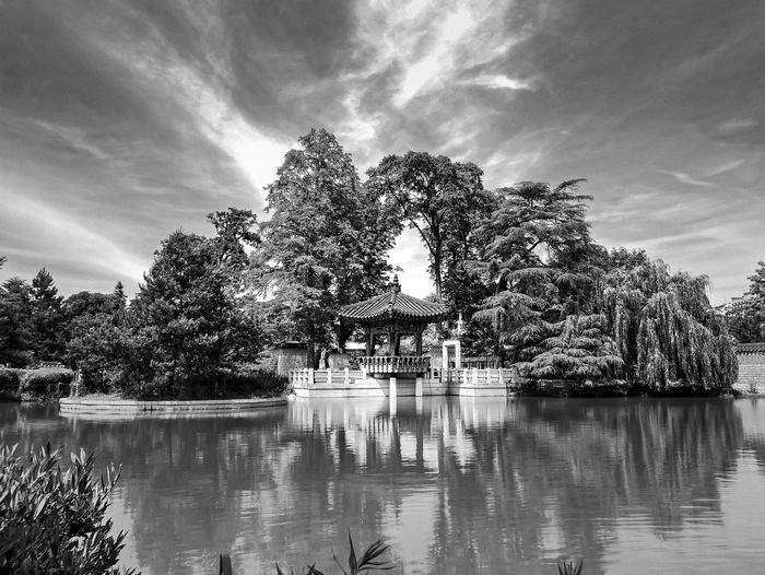 Korean Garden Ancient Korean Nature Paris Beauty In Nature Black And White Friday Cloud - Sky Day G85 Lake Lumix Miror Nature No People Outdoors Park Reflection Sky Slow Shutter Tranquility Tree Water The Week On EyeEm EyeEmBestPics