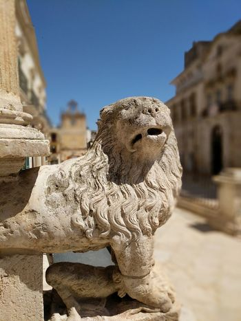 Stone Lion at the main entrance of the Acquaviva Cathedral